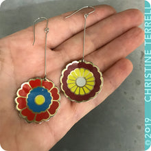 Load image into Gallery viewer, Reds & Yellow Vintage Stylized Flowers Recycled Tin Earrings