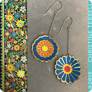 Mixed Blues Vintage Stylized Flowers Recycled Tin Earrings