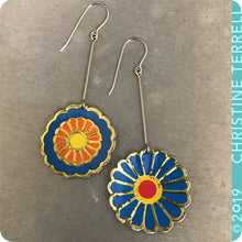 Load image into Gallery viewer, Mixed Blues Vintage Stylized Flowers Recycled Tin Earrings