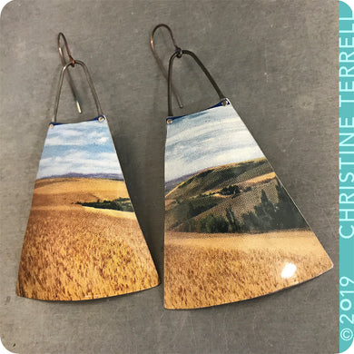 Amber Waves of Grain Upcycled Vintage Tin Earrings