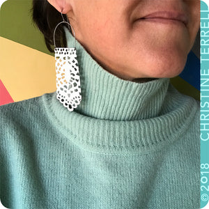 White Lace Long Upcycled Tin Earrings