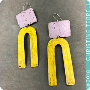 White X'd & Yellow Etched Arch Zero Waste Tin Earrings