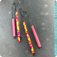 Load image into Gallery viewer, Totally Tubular Pink & Tropical Pattern Upcycled Tin Earrings