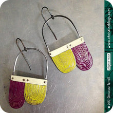 Load image into Gallery viewer, Purple & Citron Etched Arch Dangle Tin Earrings