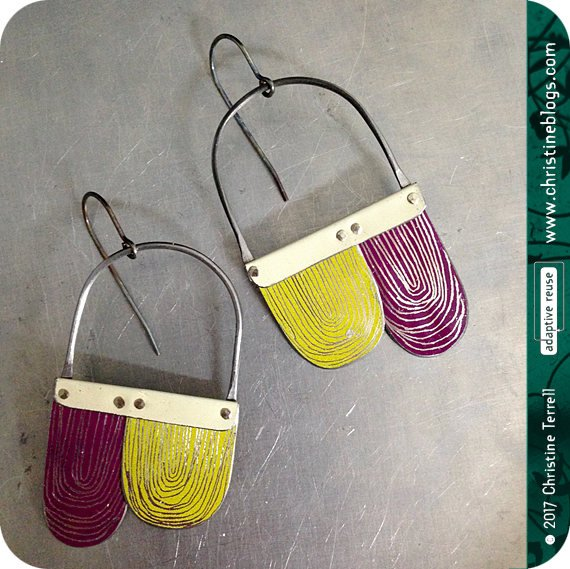 Purple & Citron Etched Arch Dangle Tin Earrings