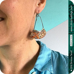 Aqua & Orange Multi Pattern Recycled Tin Earrings
