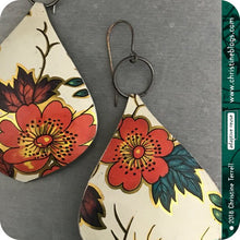 Load image into Gallery viewer, Red Flowers White Teardrop Hippie Tin Earrings