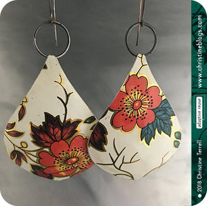 Red Flowers White Teardrop Hippie Tin Earrings