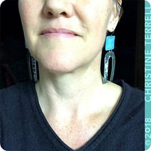 Load image into Gallery viewer, Rustic True Blue & Midnight Horseshoe Tin Earrings