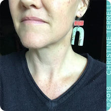 Load image into Gallery viewer, Rustic Pale Red & Seafoam Horseshoe Tin Earrings