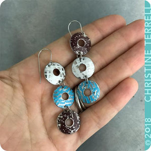 White, Blue & Chocolate Donuts Zero Waste Tin Earrings