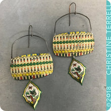 Load image into Gallery viewer, Vintage Dashes, Dots & Butterfly Embossed Pattern Zero Waste Tin Earrings
