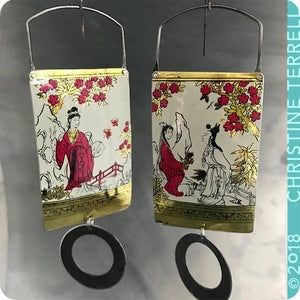 Japanese Women in Red Kimono Golden Zero Waste Tin Earrings