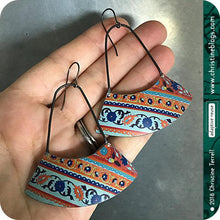 Load image into Gallery viewer, Aqua & Orange Multi Pattern Recycled Tin Earrings