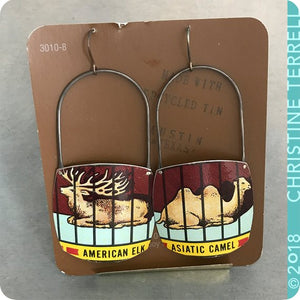 Barnum Animal Cracker Camel & Elk Zero Waste Tin Earrings