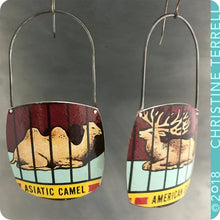 Load image into Gallery viewer, Barnum Animal Cracker Camel & Elk Zero Waste Tin Earrings