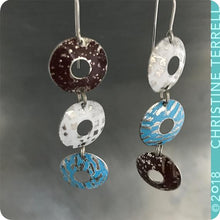 Load image into Gallery viewer, White, Blue & Chocolate Donuts Zero Waste Tin Earrings
