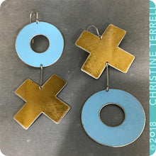 Load image into Gallery viewer, Big XOXO Golden and Blue Hugs & Kisses Zero Waste Tin Earrings