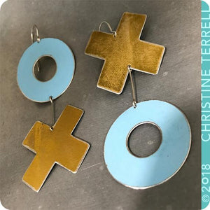 Big XOXO Golden and Blue Hugs & Kisses Zero Waste Tin Earrings