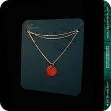 Load image into Gallery viewer, Tiny Etched Silver Heart on Red Upcycled Tin Necklace