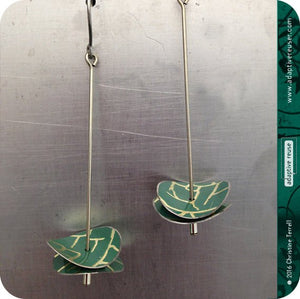 Deep Teal Golden Crackle Double Radio Wave Upcycled Tin Earrings