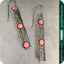 Load image into Gallery viewer, Chinese Black Maze Pattern Recycled Tin Earrings