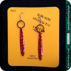 Golden Lattice on Scarlet Upcycled Tin Earrings by Christine Terrell for adaptive reuse jewelry
