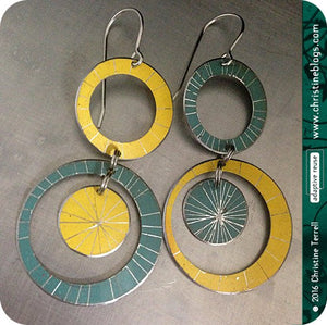 Silver Starburst Multi Circles Upcycled Tin Earrings