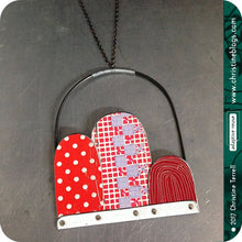 Load image into Gallery viewer, Red Dots, Checks & Line Patterns Recycled Tin Arch Necklace