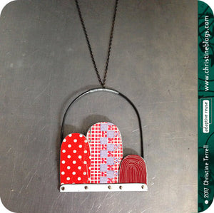 Red Dots, Checks & Line Patterns Recycled Tin Arch Necklace