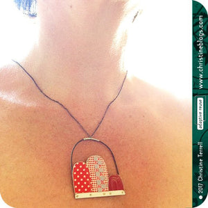 Red Dots, Checks & Line Patterns Recycled Tin Arch Necklace 40th Birthday Gift