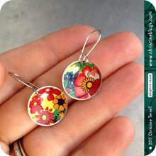 Load image into Gallery viewer, Overall Flowers Tiny Circles Upcycled Tin Earrings Tin Anniversary Gift