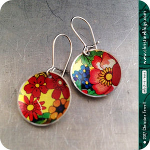 Overall Flowers Tiny Circles Upcycled Tin Earrings Tin Anniversary Gift