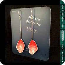 Load image into Gallery viewer, Red Starburst Faceted Upcycled Tin Earrings Tin Anniversary Gift