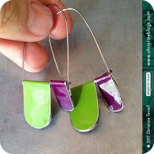 Load image into Gallery viewer, Purple & Green Arches Recycled Tin Earrings 30th Birthday Gift