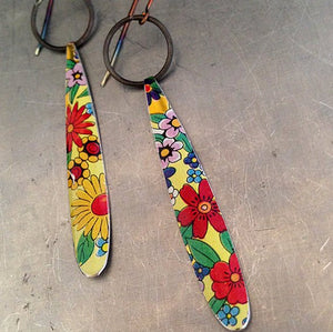 Vintage Recycled Tin Allover Flowers Ethical Long Teardrop Earrings