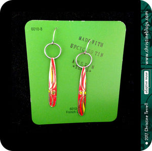 Long Red Teardrops Upcycled Tin Earrings