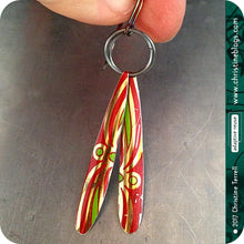 Load image into Gallery viewer, upcycled red and green tin earrings by christine terrell for adaptive reuse jewelry
