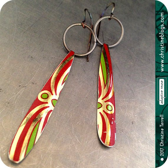 Upcycled Tin Earrings | Vintage Fruit Cake Tin | Swirled Pattern | Red Green Gold | adaptive reuse | Recycled Earrings | Boho Tin Earrings