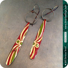 Load image into Gallery viewer, adaptive reuse upcycled red and green tin earrings