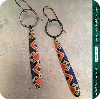 Asian Geometric on Blue Teardrops Tin Earrings