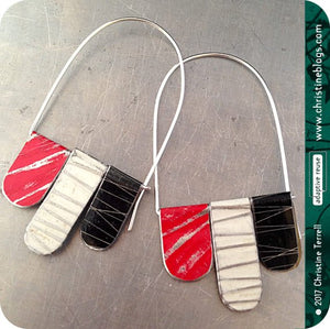Red, Black & White Arched Upcycled Tin Dangle Earrings