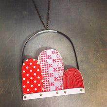 Load image into Gallery viewer, Red Dots, Checks & Line Patterns Recycled Tin Arch Necklace 40th Birthday Gift