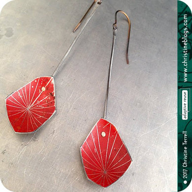 Red Starburst Faceted Upcycled Tin Earrings Tin Anniversary Gift