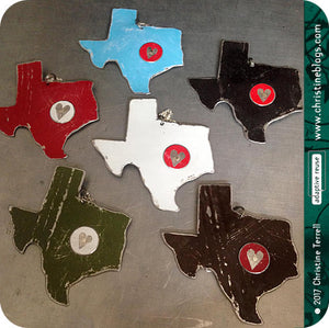 Heart of Texas Recycled Tin Necklace 30th Birthday Gift