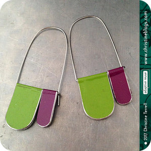 Purple & Green Arches Recycled Tin Earrings 30th Birthday Gift