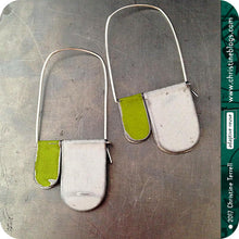 Load image into Gallery viewer, White & Yellow Green Slow Fashion Tin Earrings
