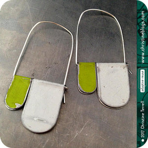 White & Yellow Green Slow Fashion Tin Earrings