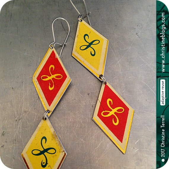 Vintage Yellow & Red Diamonds Upcycled Tin Earrings by Christine Terrell for adaptive reuse jewelry