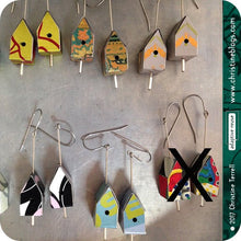 Load image into Gallery viewer, Nutrition Label Tiny Birdhouses Boho Upcycled Tin Earrings
